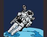 Desenho Astronauta no espaço pintado por ceciliaz