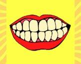 Desenho Boca e dentes pintado por jabuti