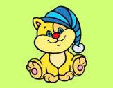 Desenho Gato com chapéu pintado por jabuti