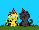 Desenho Gatos de aniversário pintado por jabuti