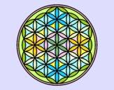 Desenho Mandala flor de vida pintado por luzinda