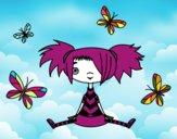 Menina com borboletas