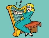 Desenho Mulher a tocar harpa pintado por ceciliaz