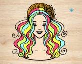 Desenho Penteado com flor pintado por luzinda