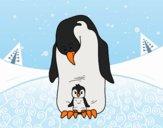 Desenho  Pinguim com seu bebê pintado por jabuti
