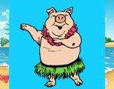 Desenho Porco havaiano pintado por jabuti