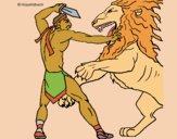 Desenho Gladiador contra leão pintado por Craudia