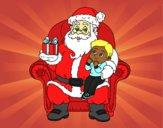 Desenho Papai Noel e da criança do Natal pintado por NahAraujo