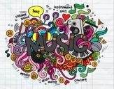 Desenho Colagem musical pintado por Haycelle