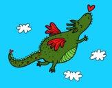 Desenho Dragão com um coração pintado por Juhzinha