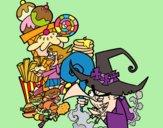 Desenho Gretel ea bruxa pintado por Craudia
