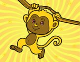 Desenho Macaco pendurado em um galho pintado por NahAraujo