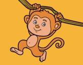 Desenho Macaco pendurado em um galho pintado por sananamor
