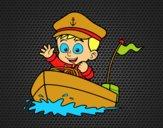Desenho Barco e capitão pintado por MillySilva