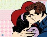 Desenho Casal a beijarem-se pintado por raphinha