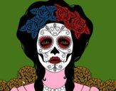 Desenho Mulher caveira mexicana pintado por luzinda