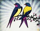 Desenho Par de pássaros pintado por Hermione