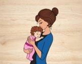 Desenho Mãe levando o bebê pintado por vanalb