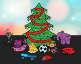 Desenho Árvore de Natal e brinquedos pintado por vanalb