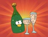 Desenho Garrafas de champanhe e taças pintado por Craudia