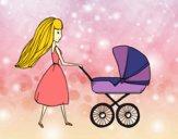 Desenho  Mãe com carrinho de criança pintado por anaCFAIAL