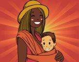 Desenho Mãe com o portador de bebê pintado por anaCFAIAL