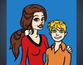 Desenho Mãe e filho  pintado por anaCFAIAL