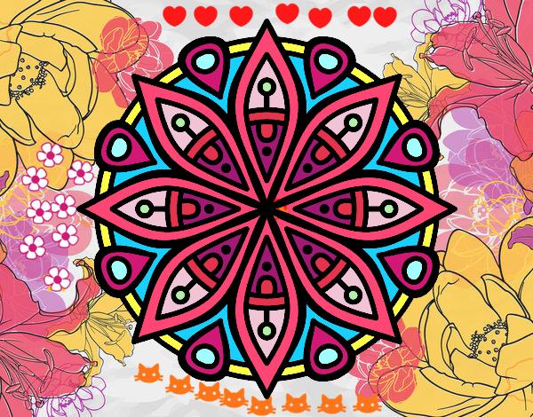 Desenho Mandala para a concentração pintado por luzinda