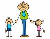 Pai com filhos