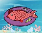 Desenho Placa de peixes pintado por luzinda