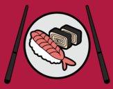 Desenho Placa de Sushi pintado por GAIBS