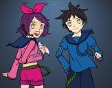 Desenho Rin y Len Kagamine Vocaloid pintado por vivi100