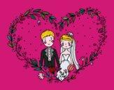 Desenho Casamento coração pintado por ceciliaz