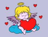 Desenho Cupido com coração pintado por ceciliaz