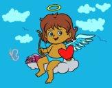 Desenho Cupido em uma nuvem pintado por ceciliaz