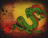 Desenho Dragão caminhada pintado por ceciliaz