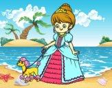 Desenho Princesa com cachorro pintado por Giovannamg
