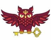 Tatuagem de coruja com chave