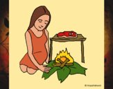 Desenho Mulher a cozinhar pintado por Craudia