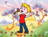 Desenho Criança cantando  pintado por ceciliaz