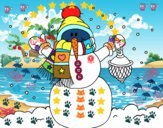 A neve do Natal do boneco de neve
