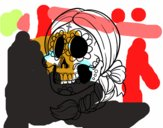 Caveira mexicana com trança