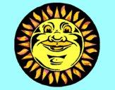 Desenho Sol gravado pintado por ceciliaz