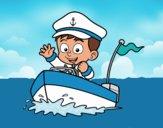 Desenho Barco e capitão pintado por Craudia