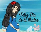 Desenho Mamã grávida no Dia da Mãe pintado por isaque