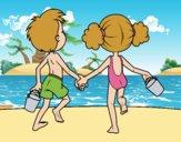 Desenho A menina eo menino na praia pintado por Juliaespin
