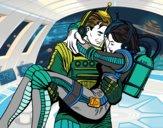 Desenho Astronautas apaixonados pintado por isalu