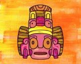 Desenho Máscara mexicana dos rituais  pintado por ceciliaz