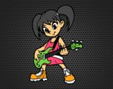 Menina com guitarra elétrica
