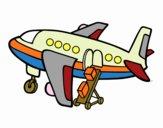 Desenho Avião levando bagagem pintado por SANDRANEME